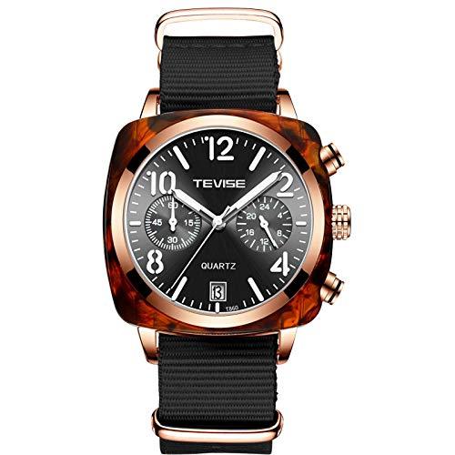 JTTM Relojes De Hombre, Reloj De Cuarzo Analógico De Negocios Único para Hombres Cronógrafo De Acero Inoxidable Relojes,Nylon Rose Gold Black