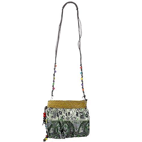 Donalworld Women Hipster Flower Cloth Crossbody Purse Straw Bag