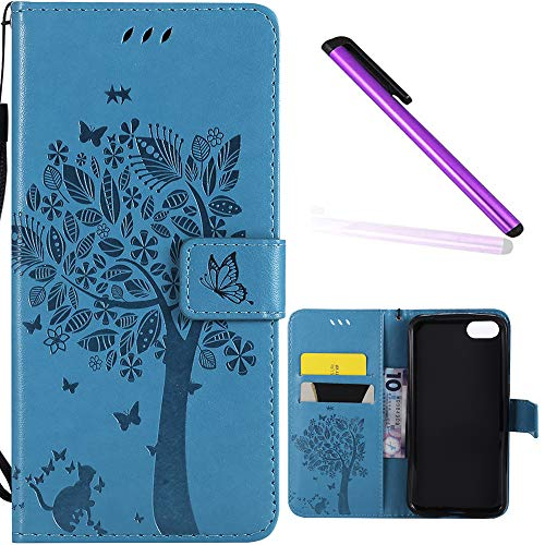 Huawei Y5 2018 Case Cover EMAXELER Stylish Wallet Case Diamond Embossed Kickstand Credit Cards Slot Cash Pockets PU Leather Flip for Huawei Y5 Wish Tree Blue