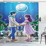 ABAKUHAUS Anime Duschvorhang, Romantisches Manga Paar, Wasser Blickdicht inkl.12 Ringe Langhaltig Bakterie & Schimmel Resistent, 175 x 180 cm, Lila Grün