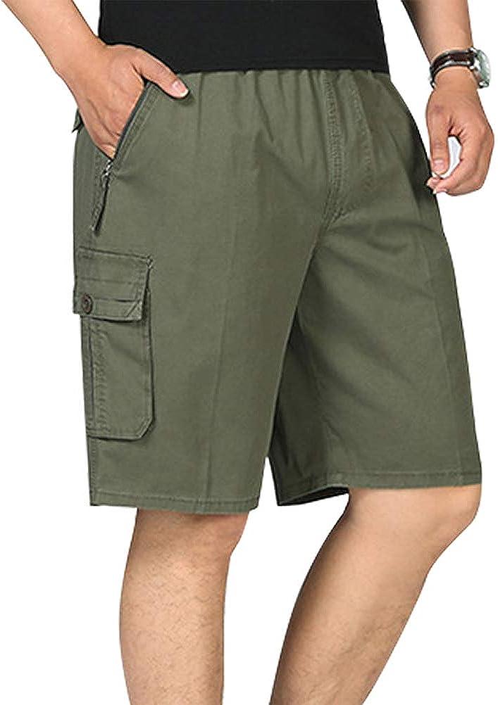 IDEALSANXUN Men's Casual Loose Cotton Cargo Shorts with Elastic Waist