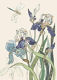 Bug Art Bearded Irises and Single Dragonfly Blank Note Card