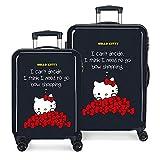 Hello Kitty Bow Set valigie Nero 55/68 cms Rigida ABS Chiusura a combinazione numerica 97L 4 Ruote Bagaglio a mano