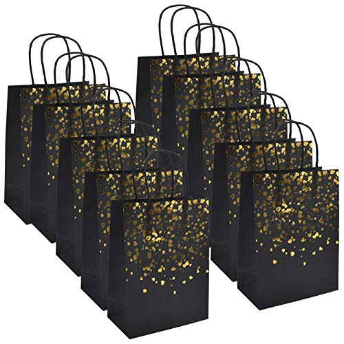 AvoDovA 12PCS Sac de Kraft, 15 x 8 x 21 cm Sac Cadeau en Papier, Sac Papier Kraft avec Poignée, Bronzage Kraft Sac Cadeau, Pochettes Cadeaux Recyclable pour Anniversaire Mariage Noël Fête (Noir)