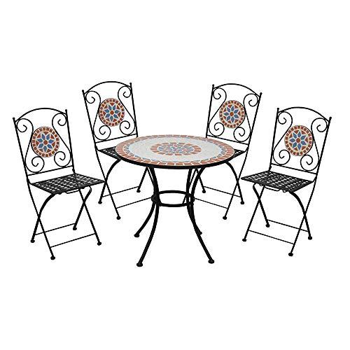 ranieri Juego de Mesa con Mosaico + 4sillas Plegables Salón Taormina