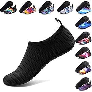 ANLUKE Water Shoes Barefoot Aqua Yoga Socks Quick-Dry Beach Swim Surf Shoes for Women Men Black/Solid 42/43