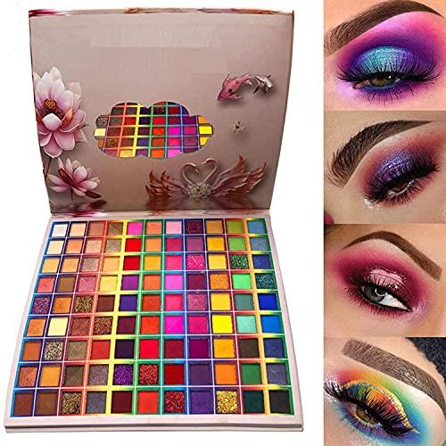 99 Farben Lidschatten-Palette, Rechoo Regenbogenfarben Fusion Lidschatten-Palette, professionelle Matte Glitter Make-up-Palette, buntes Pulver langlebiger Lidschatten
