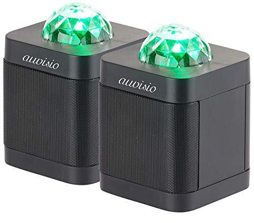 auvisio Discolichter: 2er-Set Lautsprecher mit Bluetooth 4.0 & 3-farbigem Disco-Lichteffekt (Discokugel mit Lautsprecher)