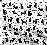 Hund, Silhouette, Kinder, Chihuahua, weiß und Schwarz,