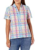 Alfred Dunner Women's Floral Pattern Plaid Burnout Woven TOP, Multi, L