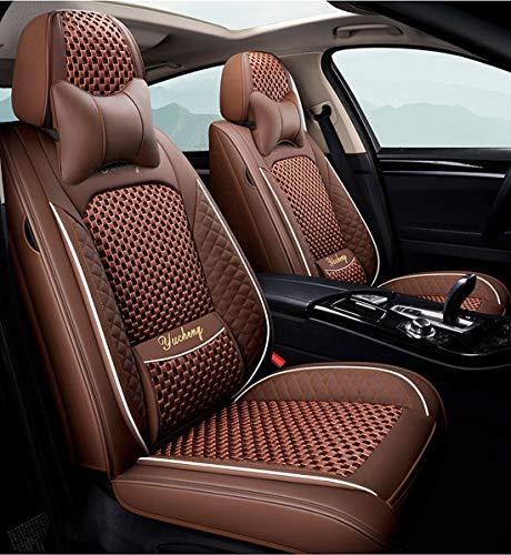 Funda De Asiento De Coche De Lino De Cuero Ford Focus 1 2 Mk1 Mk3 Explorer Fiesta Mk7 Courier Kuga Mondeo Mk3 Mk4 Cmax Figo Ranger S-MAX,Marrón