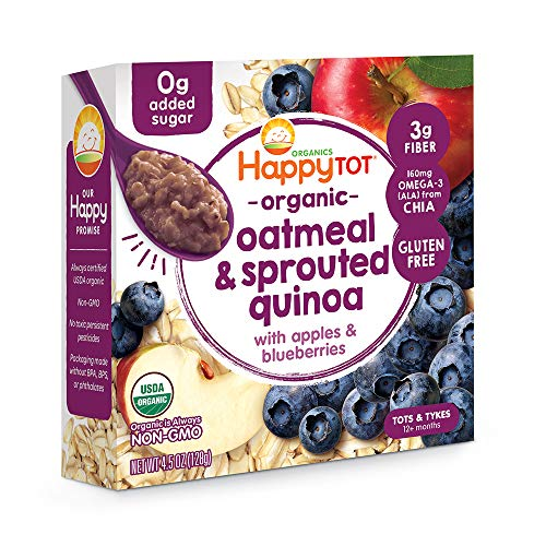 Happy Tot Super Morning Oatmeal Bowls Organic Toddler Food Apples and Blueberries, 4.5 Ounce Bowls...