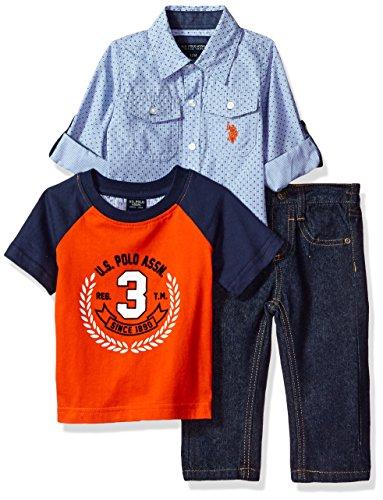 U.S. Polo Assn. Baby Boys' Sport Shirt, Creeper and Pant Set, 0686-Multi Plaid, 18M