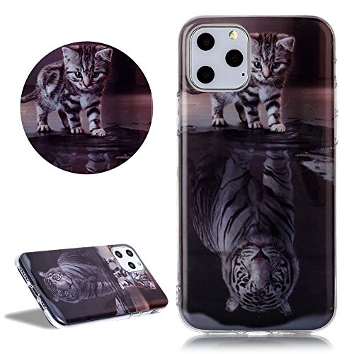 DasKAn Weich Silikon Hülle für iPhone 11 (6,1'') mit Süße Tiere Katze und Tiger Muster, Ultra Dünn Gummi Rückseite Handy Tasche Stoßfest Kratzfest Flexibel Gel TPU Schutzhülle,#2