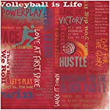 Karen Foster Design Scrapbooking Paper, 25 Sheets, Volleyball Is Life Collage, 12 x 12'