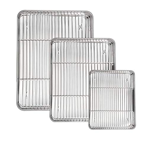 MOTUKY Cookie Sheets for baking Nonstick Set Nonstick Baking Sheet with Wire Rack Set Cookie Sheet Pan Insert for Oven Cooling Grill Nonstick Sheet Bacon Stainless Steel