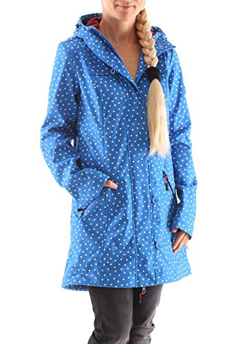 Blutsgeschwister Wild Weather Long Softshell-Anorak, Blau (Dot And Anchor), S