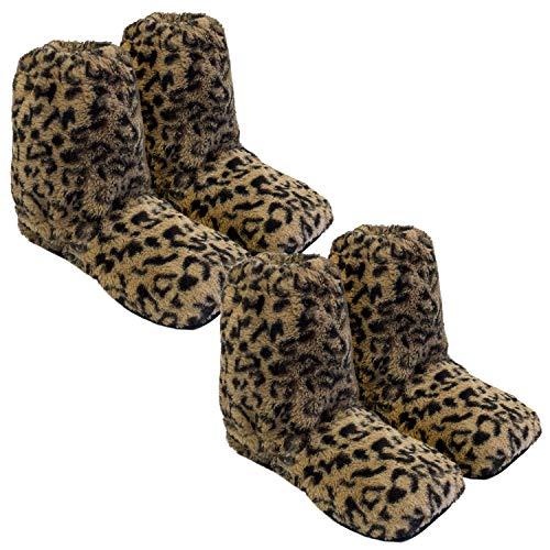 Thermo Sox 2 Paar aufheizbare Hausschuhe Gr L 41-45 / Leopardenmuster Braun/Schwarz Körnerpantoffeln für Mikrowelle und Ofen - Mikrowellenhausschuhe Wärmepantoffeln Wärmehausschuhe Supersoft