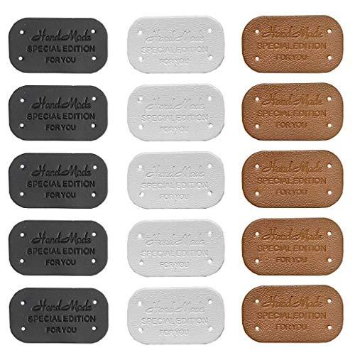 Juland 60 etichette in pelle fatta a mano, in poliuretano, per vestiti, borse, lavori di cucito etichette rettangolari per cucito, etichette per tessitura e toppe fatte a mano, 2,1 x 3,8 cm