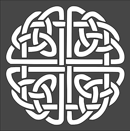 Rubstamper Celtic Round Knot Logo Stencil Reusable Sturdy Flexible Clear Plastic 1-5.5x5.5 in Arts and Crafts Material Scrapbooking for Airbrush Painting Drawing