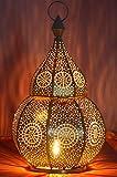 Orientalische Laterne aus Metall Anaram Grau 32cm | orientalisches Marokkanisches Windlicht Gartenwindlicht | Marokkanische...
