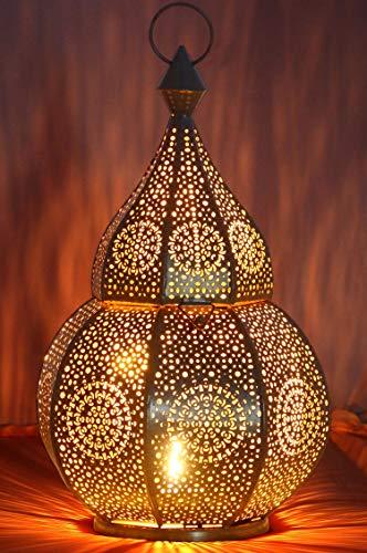 Orientalische Laterne aus Metall Anaram Grau 32cm | orientalisches Marokkanisches Windlicht Gartenwindlicht | Marokkanische Metalllaterne für draußen als Gartenlaterne, oder Innen als Tischlaterne