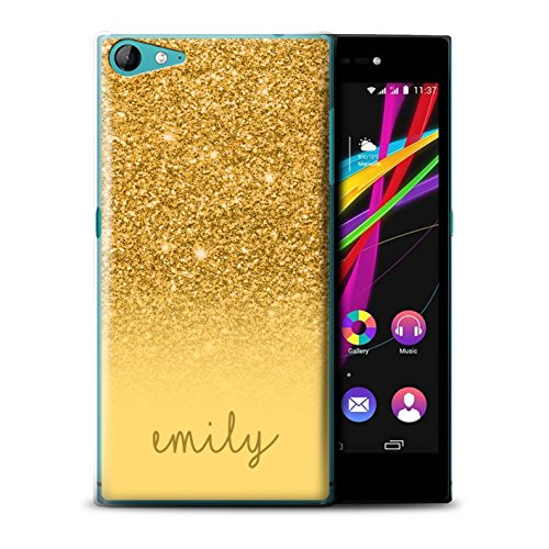 Personalisiert Hülle Für Wiko Highway Star 4G Individuell Glitter Effekt Gold Design Transparent Ultra Dünn Klar Hart Schutz Handyhülle Case