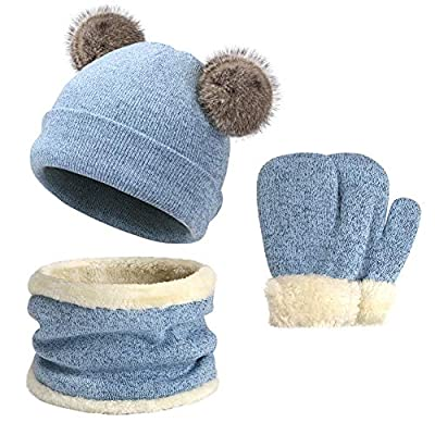 Kids Boys Girls Winter Knit Warm Fleece Lined Cute Pompom Beanie Hats Caps and Infinity Scarf Mittens Gloves Set for Children