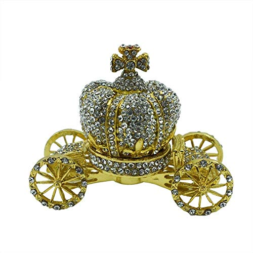 Raelf Metall-Schmuckschatulle, Diamant-Schmuckschatulle, kreative Dekoration, europäische Luxus-Diamantkrone, Auto-Geschenk, Diamantkrone, Auto-Geschenk, Metall-Geschenk-Box, Diamant-Schmuck