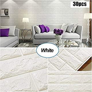 Masione 3D Wallpaper Wall Panels Self-Adhesive Peel and Stick Real Bricks Effect Wall Tiles for TV Walls Sofa Background Bedroom Kitchen Living Room Home Wall Decor 174.39 sq.ft 30Packs