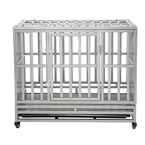 LUCKUP Heavy Duty Dog Cage Strong Metal Kennel and Crate for Medium and Large Dogs, Pet Playpen with...