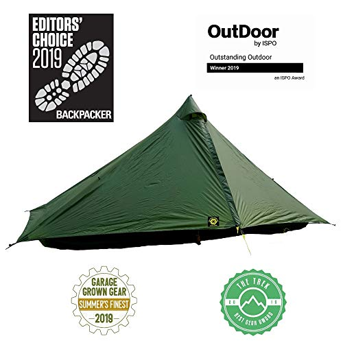 Six Moon Designs Lunar Solo Green 1 Person Ultralight Tent. 26 oz. Backpacking Tent. 100% Silicone Coated Polyester Material for Reduced Fabric Stretch & Volume. Trekking Pole Setup.