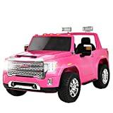 Uenjoy 12V Kids Ride On Car Electric Licensed GMC, Two-Seater, Indoor and Outdoor Toys, 2.4G Remote Control,Auxiliary Wheels, for Girls Aged 3-8-Pink