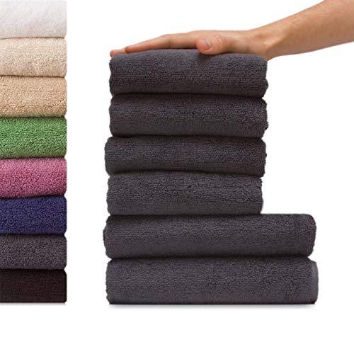 etérea Viola 6 TLG Handtuch Sparset 4X Handtücher, 2X Duschtücher - 100% Baumwolle und Oeko Tex Standard 100 - Qualitäts Frottierware 550 g/m² - Farbe: Anthrazit