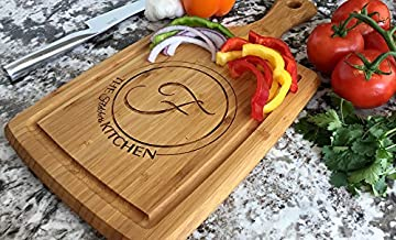 Personalized by Name Cutting Board for Kitchen - Wood Boards Housewarming & Wedding Gift (9 x 17 Bamboo Rectangular with Grooves, Fletcher Design)