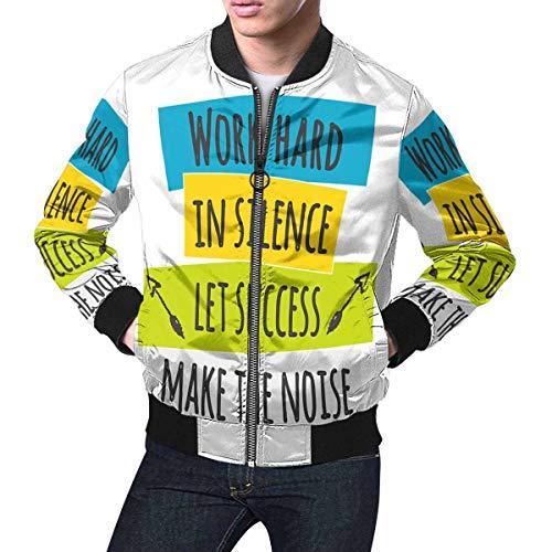 INTERESTPRINT Men's Stylish Slim Fit Zip-up Jacket Work Hard in Silence Let Success Make The Noise 3XL