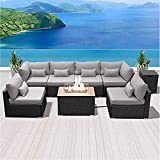 N&P Outdoor Patio Furniture Sofa Set with Gas fire Pit Table (Gray rectanglefiretable)