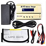 HTRC B6 V2 LiPo Battery Charger 80W 6A Digital RC Balance Charger Battery for NiMH/NiCD/Li-Fe Packs w/LCD Display RC Hobby Battery Charger