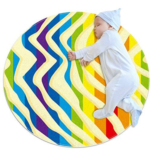 HDFGD Alfombra lavable niños círculo alfombra niños dormitorio círculo alfombra baño alfombra decoración baño alfombra multicolor rayas arco iris onda