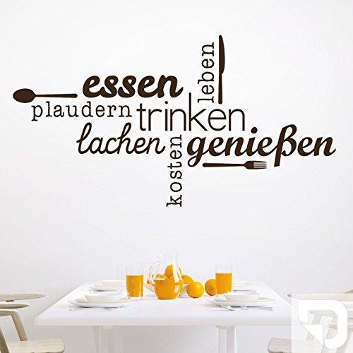 DESIGNSCAPE® Wandtattoo Essen Trinken Genießen | Wandtattoo Küche Esszimmer 100 x 54 cm (Breite x Höhe) weiss DW803463-M-F5