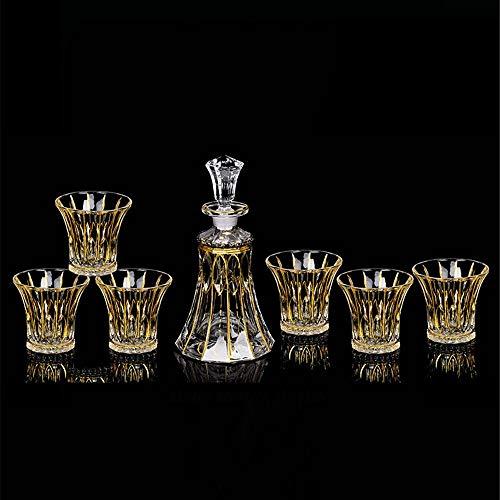 Copa De Vino Jarra Y Vasos, Decorado Forradas en Oro de Bohemia Cristal de Whisky de Cristal Sistema del Vino Siete Conjunto de Botella de Vino de Vidrio sin Plomo La Decoración del Hogar Sistema del