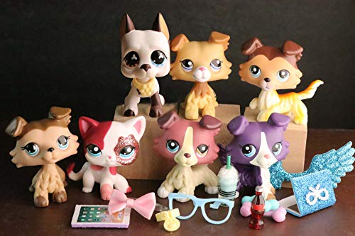 USALPS lps Cats and Dogs 7pcs lps Shorthair Cat lps Collie lps Great Dane 2452 58 893 12621676 1647 2291 with lps Accessories lot Collectable Figures