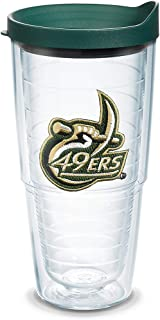 Tervis 1085077 Charlotte 49ers Logo Tumbler with Emblem and Hunter Green Lid 24oz, Clear