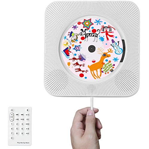 CD Player Wall Mountable Compact Disc Player Bluetooth Home Audio Speaker with Aux & Headphone Jack Line-in HiFi Speaker USB Drive Player, Innovative Pull Switch and Remote Control