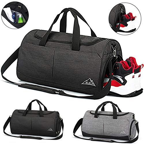 MoHo Sports Gym Bag Duffle Bag with Shoes Compartment & Wet Pocket Travel Holdall Bag for Men and Women (BLACK)