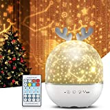 OTentW 星空ライト リモコン式 スタープロジェクターライト ベッドサイドランプ ナイトライト 寝かしつけ用おもちゃ 可愛い バレンタインデーギフト 家庭用 オルゴール 8曲音楽再生 360度回転 明るさ調整可 USB充電式 ロマンチック雰囲気作り 誕生日 クリスマス