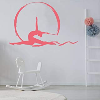 lixingwei Artistic Gymnastics Vinyl Wall Decal Gymnasium Aerial Silks Dancing Girl Wall Stickers Gilrs Bedroom Modern Home Decoration 74X112CM