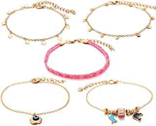 Set of 5 Pink and Gold Layered Anklet Bracelet for Women