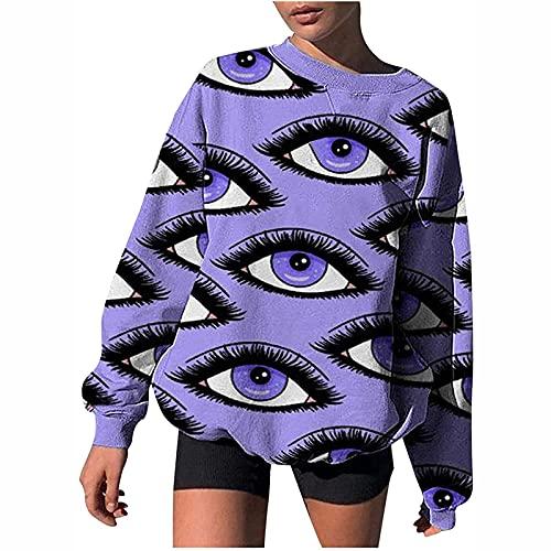 Damen Oversize Graphic Sweatshirt, Unique Maya Cartoon Portrait Print Fashion Fledermaus Lockere Passform Teen Mädchen Herbst Casual Vintage Tunika Tops T-Shirts Bluse Pullover
