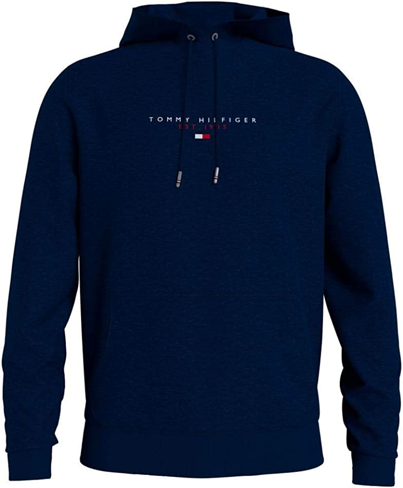 Tommy hilfiger essential, felpa con cappuccio per uomo,100% cotone MW0MW17382